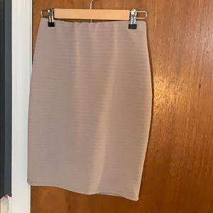 Tan Elastic Waste Pencil Skirt